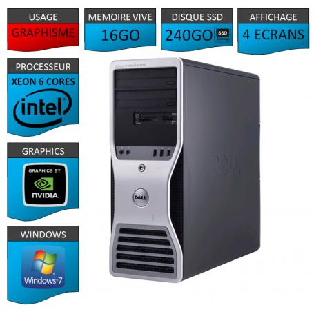 STATION DE TRAVAIL AFFICHAGE 4 ECRANS Xeon 6 Cores 16Go 240SSD 1000Go Windows 7 Pro 64