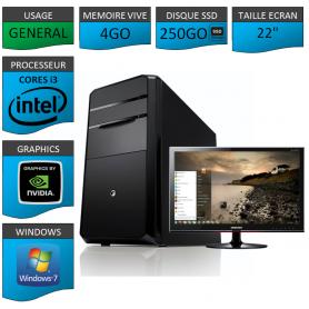 "PC NEUF MSI Core i3 4Go 250Go SSD GeforceGT1Go 22"""