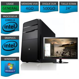 "PC NEUF MSI Core i3 4Go 500Go 24"""
