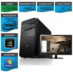 "PC NEUF MSI Core i3 4Go 500Go GeforceGT1Go 24"""