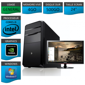 "PC NEUF MSI Core i3 4Go 500Go GeforceGT2Go 24"""