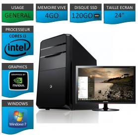 "PC NEUF MSI Core i3 4Go 120Go SSD GeforceGT1Go 24"""