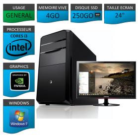 "PC NEUF MSI Core i3 4Go 250Go SSD GeforceGT2Go 24"""