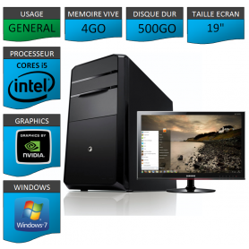 "PC NEUF MSI Core i5 4Go 500Go GeforceGT2Go 19"""