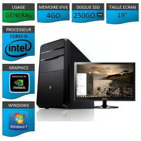 "PC NEUF MSI Core i5 4Go 250Go SSD GeforceGT1Go 19"""