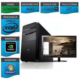 "PC NEUF MSI Core i5 4Go 250Go SSD GeforceGT2Go 22"""
