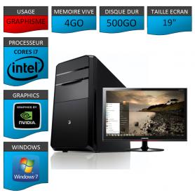 "PC NEUF MSI Core i7 4Go 500Go GeforceGT2Go 19"""