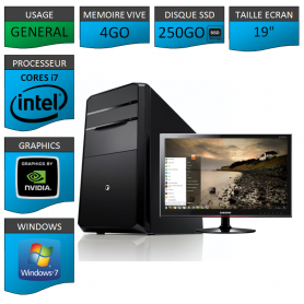"PC NEUF MSI Core i7 4Go 250Go SSD GeforceGT2Go 19"""