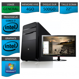 "PC NEUF MSI Core i7 4Go 500Go 22"""