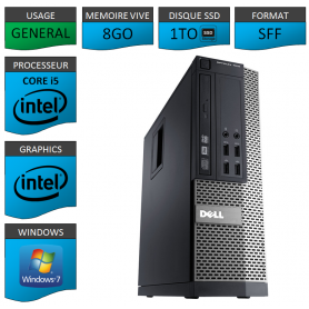 Dell 7010 Core i5 8Go 1000SSD Windows 7 Pro