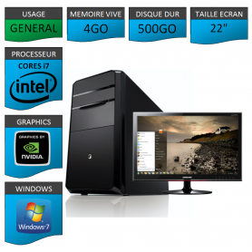 "PC NEUF MSI Core i7 4Go 500Go GeforceGT1Go 22"""