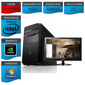 "PC NEUF MSI Core i7 4Go 500Go GeforceGT4Go 22"""