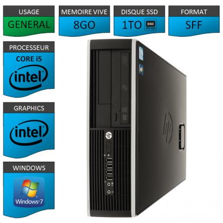 PC HP Core i5 8Go 1000Go SSD Windows 7 Pro