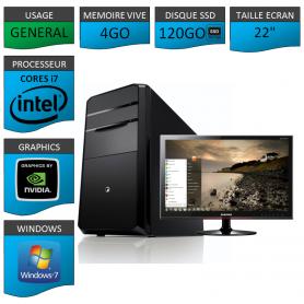 "PC NEUF MSI Core i7 4Go 120Go SSD GeforceGT1Go 22"""