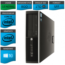 PC HP Core i5 8Go 1000Go SSD Windows 10 Pro
