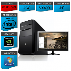 "PC NEUF MSI Core i7 4Go 500Go GeforceGT4Go 24"""