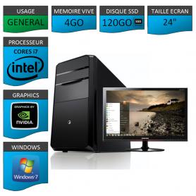 "PC NEUF MSI Core i7 4Go 120Go SSD GeforceGT2Go 24"""
