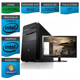 """PC NEUF MSI Core i3 8Go 120Go SSD 19"""""""