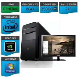 "PC NEUF MSI Core i7 8Go 250Go SSD GeforceGT1Go 24"""