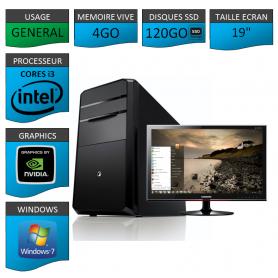 "PC NEUF MSI Core i3 4Go 120Go SSD GeforceGT1Go 19"""