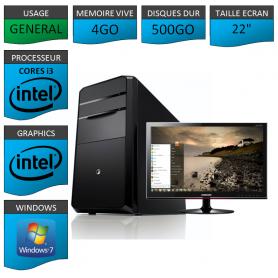 "PC NEUF MSI Core i3 4Go 500Go 22"""