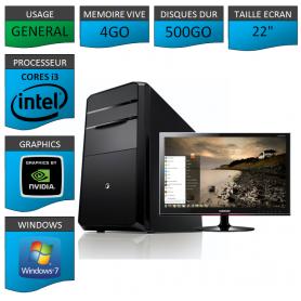"PC NEUF MSI Core i3 4Go 500Go GeforceGT2Go 22"""