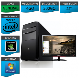 "PC NEUF MSI Core i3 4Go 500Go GeforceGT4Go 22"""