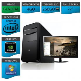 "PC NEUF MSI Core i3 4Go 250Go SSD GeforceGT2Go 22"""