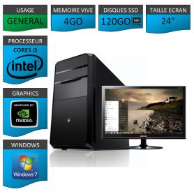 "PC NEUF MSI Core i3 4Go 120Go SSD GeforceGT2Go 24"""