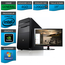 "PC NEUF MSI Core i5 4Go 120Go SSD GeforceGT1Go 19"""