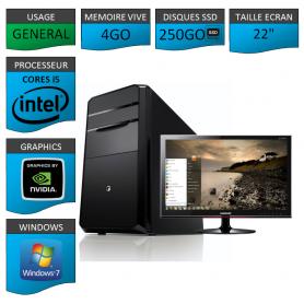 "PC NEUF MSI Core i5 4Go 250Go SSD GeforceGT1Go 22"""