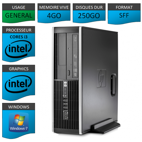 PC HP Pro 6300 SFF Core i3 4Go 250Go Windows 7 pro
