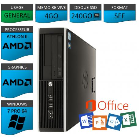 HP AMD Athlon II 4Go SSD240 W7P OFFICE
