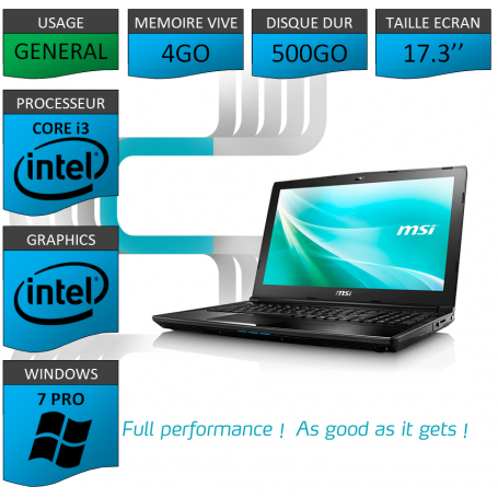 "MSI Intel Core i3 4Go 500Go 17.3"" Windows 7 Pro 32"
