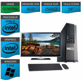 PC Dell i5 4Go 250Go 19'' Windows 7 Pro 64