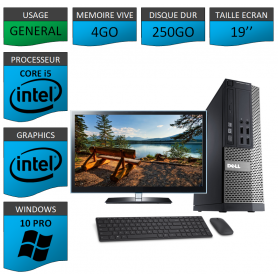 PC Dell i5 4Go 250Go 19'' Windows 10 Pro 64