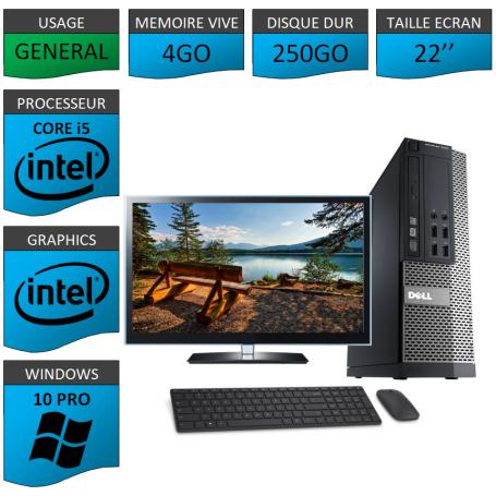 PC Dell i5 4Go 250Go 22'' Windows 10 Pro 64