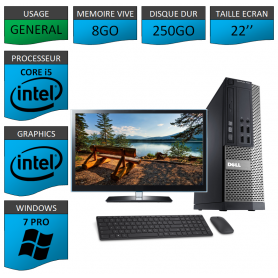 PC Dell i5 8Go 250Go 22'' Windows 7 Pro 64