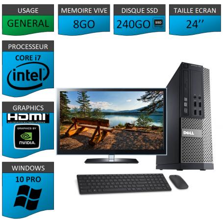 PC Dell i7 8Go SSD240 24''HDMI Windows 10 Pro 64 NVIDIA GEFORCE