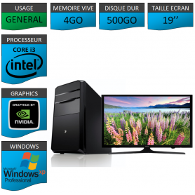 PC NEUF Windows XP Pro i3 4Go 500Go Geforce 2Go 19''