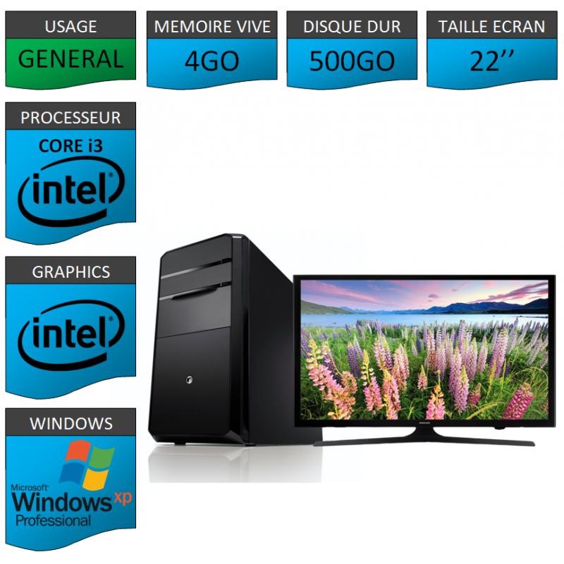 PC NEUF Windows XP Pro i3 4Go 500Go 22 pouces