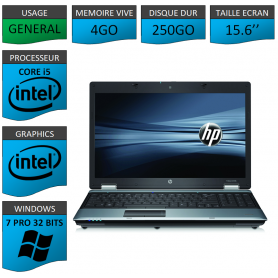 Portable HP I5 4Go 250Go Windows 7 Pro 32 Bits