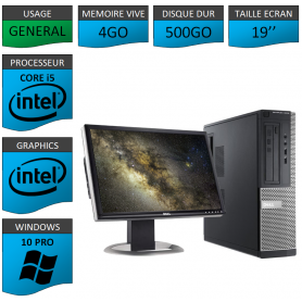 PC Dell i5 4Go 500Go 19'' Windows 10 Pro 64
