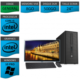 HP Prodesk 600 G1 8Go 500Go W10P 24''