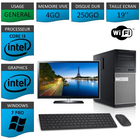 Dell Optiplex 790 Core i3 4go 250Go Windows 7 Pro WIFI 19''