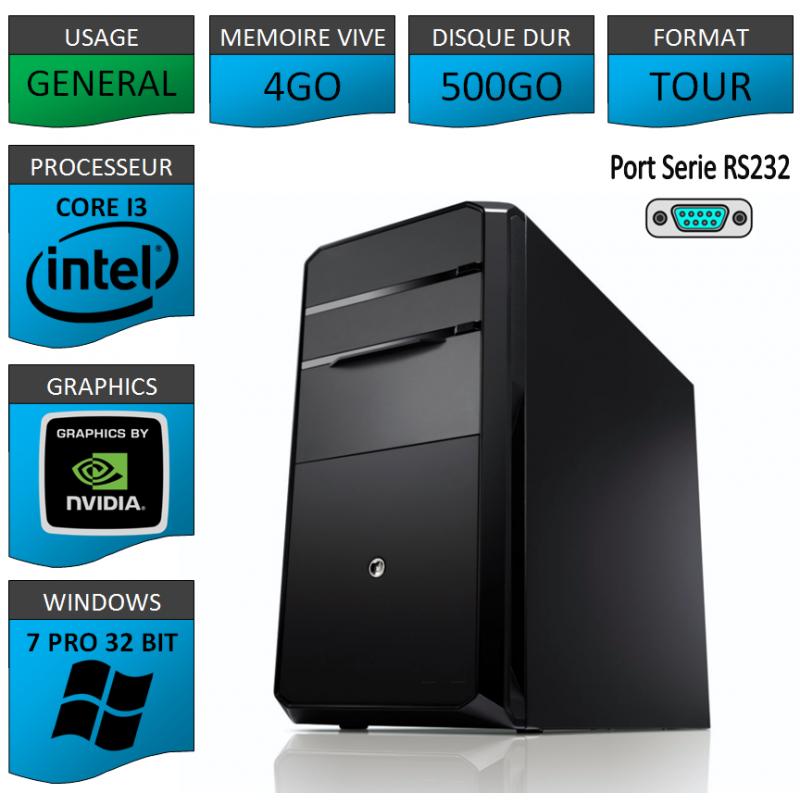 PC NEUF Windows 7 Pro 32 i3 4Go 500Go Geforce 1Go Port Serie