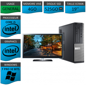 PC Dell Core i5 4Go 500SSD 19'' Windows 7 Pro 32