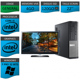 PC Dell Core i5 4Go 120SSD 22'' Windows 7 Pro 32