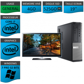 PC Dell Core i7 4Go 525SSD 19'' Windows 7 Pro 32