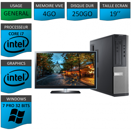 PC Dell Core i7 4Go 250Go 22'' Windows 7 Pro 32